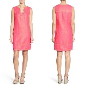 Vineyard Vines Pink Shimmer Linen Sleeveless Dress